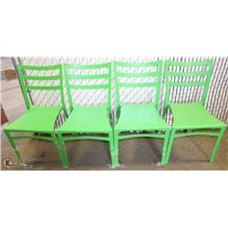 4 NEW GREEN PATIO CHAIRS