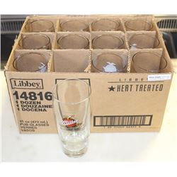CASE OF 12 NEW MILLER GENUINE DRAFT BEER GLASSES