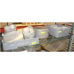 SHELF OF ASSORTED WHITE DINNERWARE