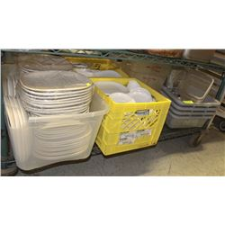SHELF OF ASSORTED WHITE DINNERWARE & BUS TRAYS