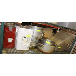 SHELF OF COOKING POTS, INSERTS & VARIOUS LIDS