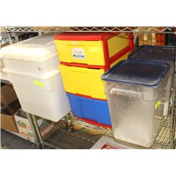 PLASTIC SHELVING & TOTES, STORAGE/INDGREDIENT BINS