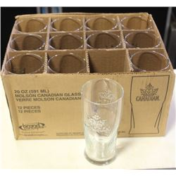 CASE OF 12 MOLSON CANADIAN 20 OZ GLASSES