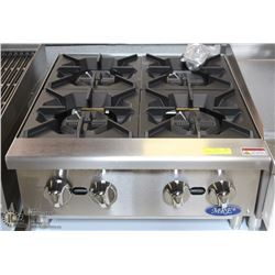 ME#5,MRE) HEAVY DUTY COUNTER TOP HOT PLATE 4 GAS