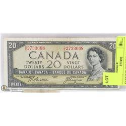 CANADIAN 1954 DEVILS FACE  $20  BILL