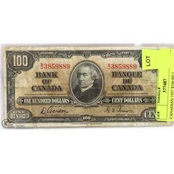 CANADIAN 1937 $100 BILL