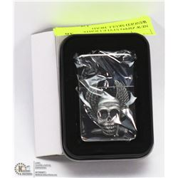 NEW ZIPPO STYLE LIGHTER W/ WINGED SKULL HEAD