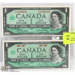 LOT OF 2 CANADA 1967 MINT DOLLAR BILLS INCL SERIAL