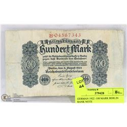 GERMAN 1922 -100 MARK BERLIN  BANK NOTE
