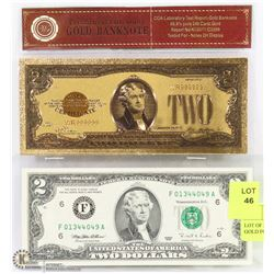 LOT OF 2-USA REPLICA  $2 WITH  24K GOLD FOIL