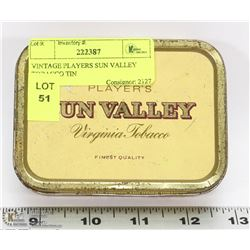 VINTAGE PLAYERS SUN VALLEY TOBACCO TIN