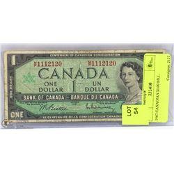 1967 CANADIAN $1.00 BILL.