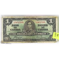 1937 CANADIAN $1.00 BILL.