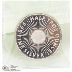SUNSHINE MINT HALF TROY OUNCE .999 SILVER COIN.