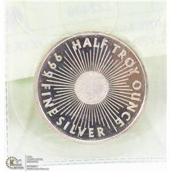 SUNSHINE MINT HALF TROY OUNCE .999 SILVER COIN.