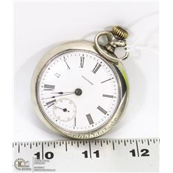 VINTAGE WALTHAM POCKET WATCH WITH STAMPED SILVER