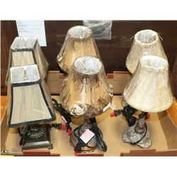 3 MATCHING SETS OF 2 MINI LAMPS. ALL NEW