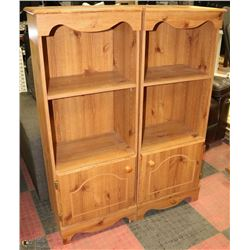 2 TALL PEDESTAL STORAGE END TABLES/CABINETS