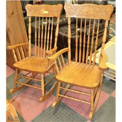 2 SOLID OAK ROCKING CHAIRS