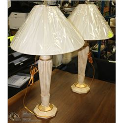 SET OF 2 IVORY COLOR TABLE LAMPS WITH SHADES