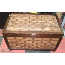 WOOD AND WICKER STORAGE CHEST