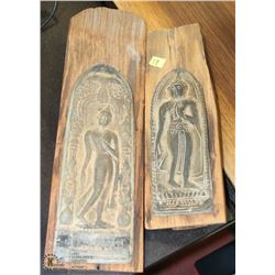 PAIR OF METAL AND WOOD DECORATIVE ORNAMENTS
