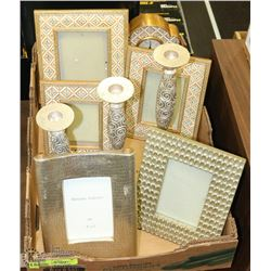 TRAY OF SHOWHOME DECOR INCL CLOCK , FRAMES AND