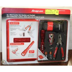 SNAP ON 3PC MULTI FUNCTION TOOLS, KEYCHAIN, AND