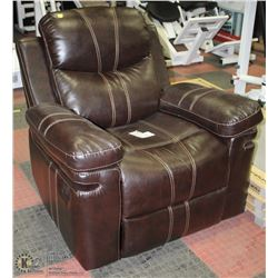 BROWN LEATHERETTE RECLINING SOFA CHAIR