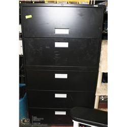 BLACK 5 DRAWER FILING CABINET