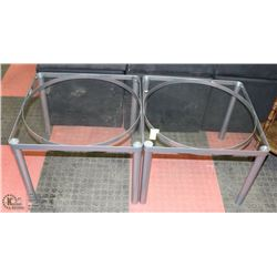 PAIR OF METAL AND GLASS END TABLES