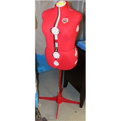 SINGER RED MANNEQUIN FORM W/STAND, 13
