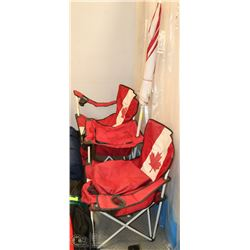 CANADA FLAG DOUBLE CAMP CHAIR WITH COOLER (USED)