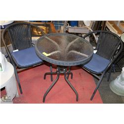 BISTRO SET WITH GLASS TOP TABLE, 2 CHAIRS AND