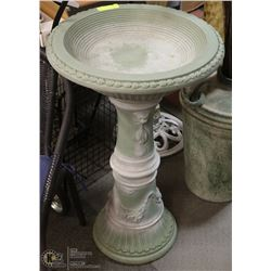 "GREEN DECORATIVE BIRD BATH 32"" HIGH"