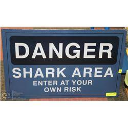 LARGE DANGER SHARK AREA METAL SIGN