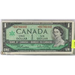 1967 CANADIAN REPLACEMENT $1.00 BILL.