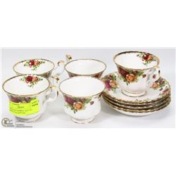 10PC ROYAL ALBERT OLD COUNTRY ROSE CUP & SAUCERS