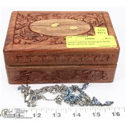 HAND CARVED WOOD BOX WITH BLUE CRYSTAL AND