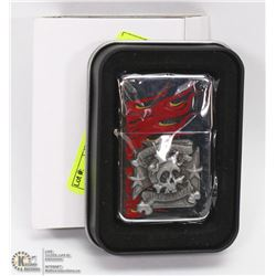 NEW ZIPPO STYLE LIGHTER W/ SKULL AND TATTOO YOUR