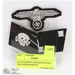 SS TOTENKOPF UNIFORM INSIGNIA THE PAPER MARKING
