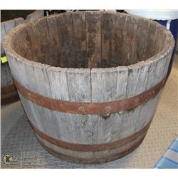 LARGE VINTAGE 1/2 WOOD BARREL PLANTERS -