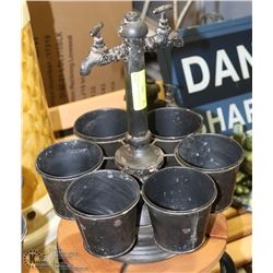 RUSTIC METAL TAP 6 POT PLANTER HOLDER