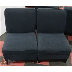 PAIR OF DARK GREY FABRIC SIDECHAIRS