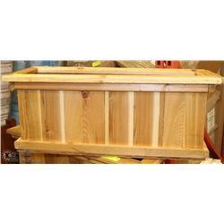 "STAINED CEDAR PLANTER 27""X10""X10""H"