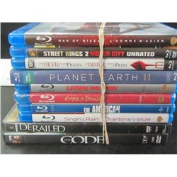 10 DVD Movies / 8 are Blue Ray