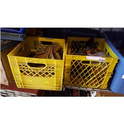 TWO CRATES OF TOOLS AND BELT