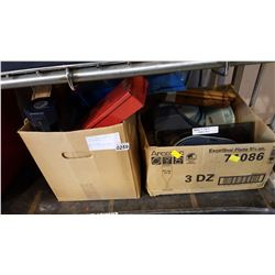 2 BOXES OF TOOLS CASES AND SAFETY HARNESS AND TICKETS AND COUPONS