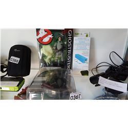 NEW GHOSTBUSTER FIGURE AND SONY HEADPHONES AND NEW USB BATTERY PACK