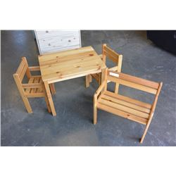 KIDS PINE TABLE WITH TWO CHAIRS AND BENCH